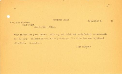 John Thacher to Beatrix Farrand, September 8, 1941