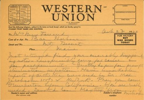 Mildred Bliss and Robert Bliss to Beatrix Farrand, October 27, 1944