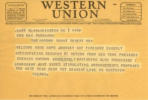 Mildred Bliss to Beatrix Farrand, August 1, 1944