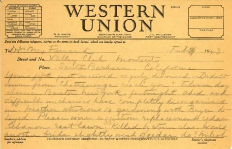 Mildred Bliss to Beatrix Farrand, February 9, 1943