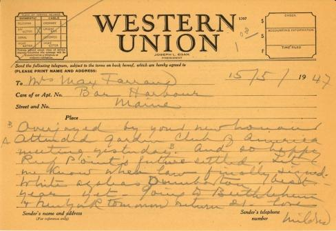 Mildred Bliss to Beatrix Farrand, May 15, 1947