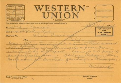 Mildred Bliss to Beatrix Farrand, November 28, 1946