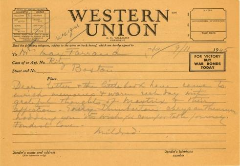 Mildred Bliss to Beatrix Farrand, November 9, 1945
