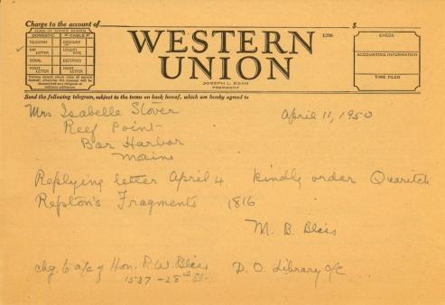 Mildred Bliss to Isabelle Stover, April 11, 1950
