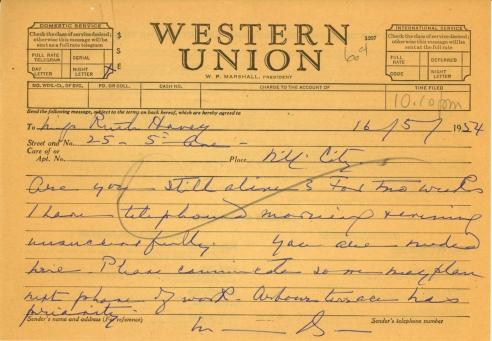 Mildred Bliss to Ruth Havey, May 16, 1954