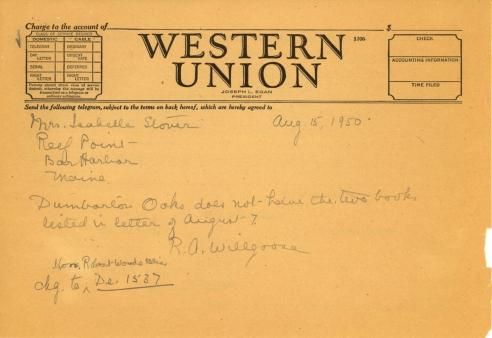 Rose Willgoose to Isabelle Stover, August 15, 1950