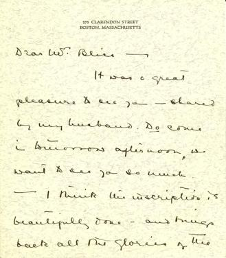 Mary W. Winslow to Mildred Bliss, 1933 (1)