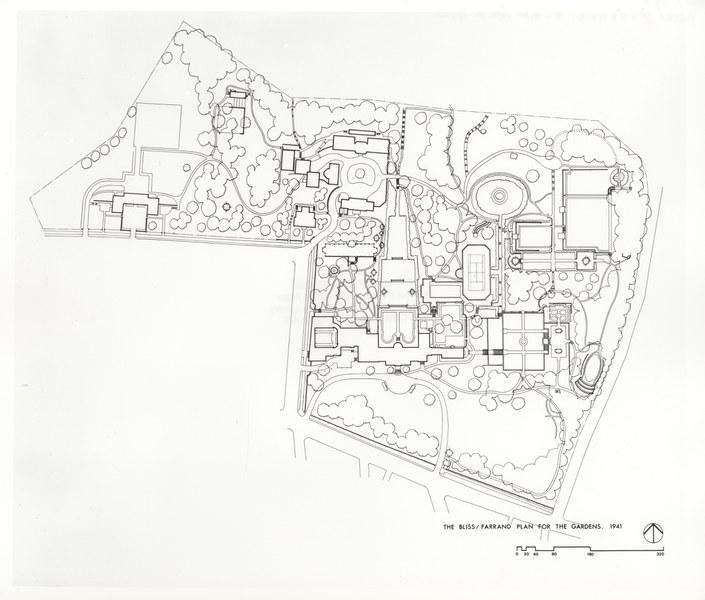 Bliss and Farrand plan for the Dumbarton Oaks Gardens, 1941