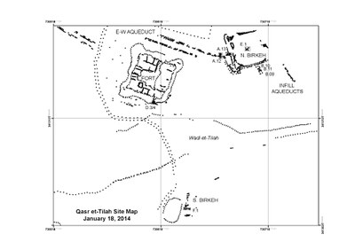 Fig. 1: Plan map of the Qasr Tilah archaeological site south of the Dead Sea in Jordan (Niemi 2013–2014)