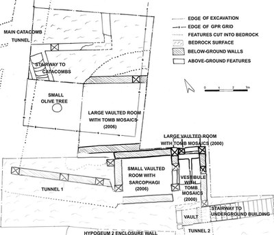 Fig. 1: Sketch plan of the subterranean early Christian burial complex (Stevens 2006–2007)
