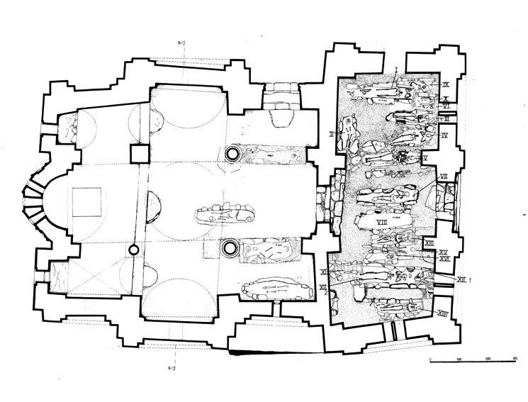 Fig. 1: Sixteen graves from the narthex, and five from the main church (Bourbou 2010–2011)