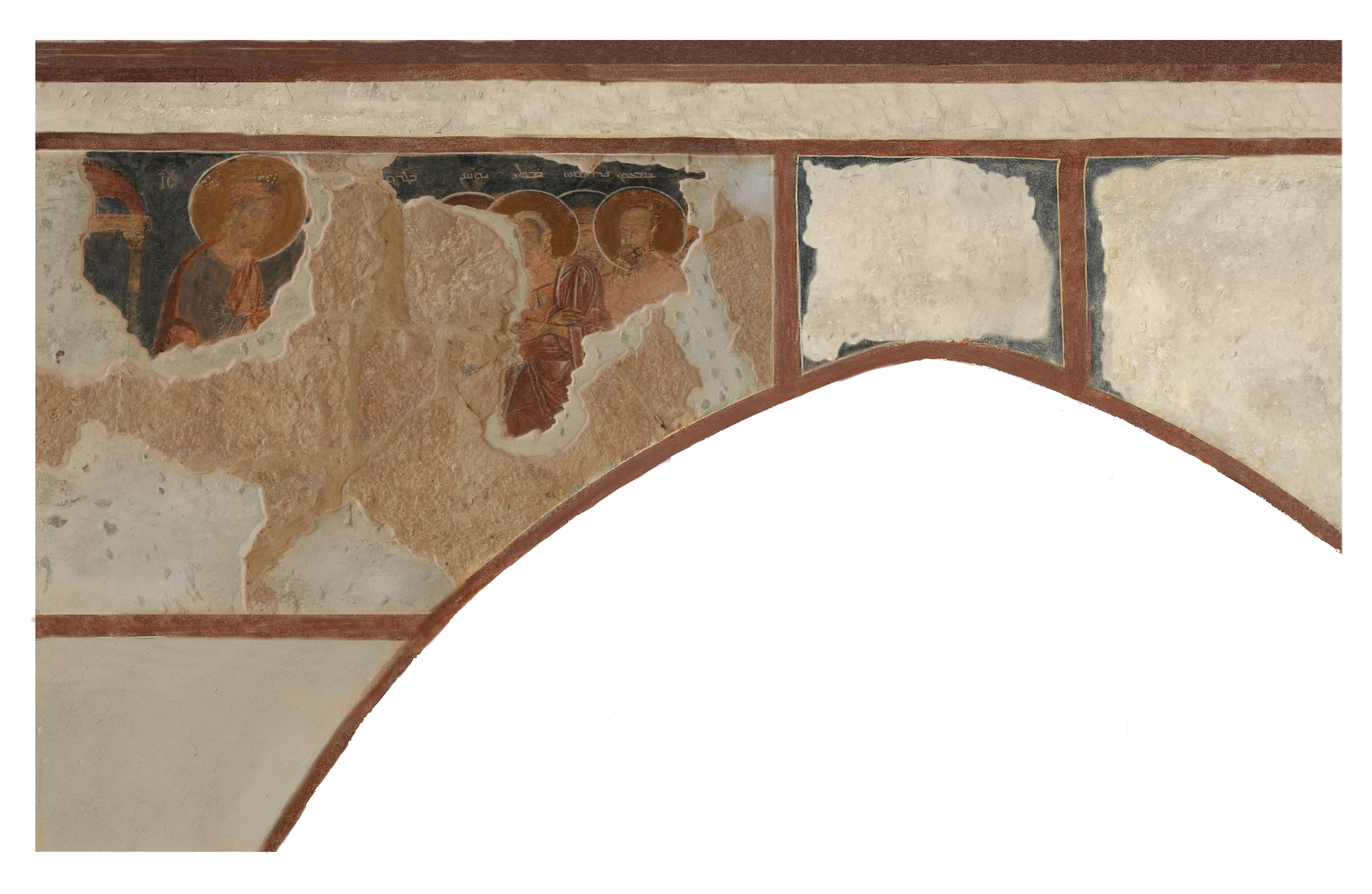 Fig. 7: Communion of the Apostles on the north wall of the central nave and fragmentary Arabic inscription above the cornice (Waliszewski and Chmielewski 2009–2010)