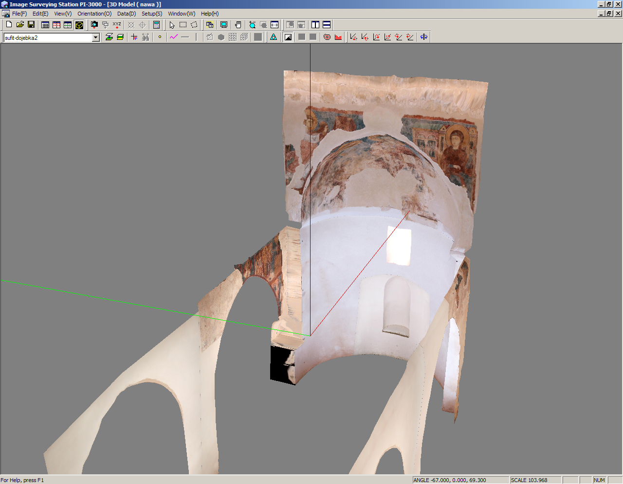 Fig. 10: 3-D model of the interior of the church with paintings (Waliszewski and Chmielewski 2009–2010)
