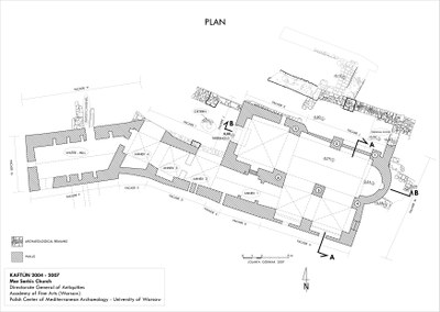 Fig. 4: Church of Mar Sarkis and Bakhos in Kaftûn, ground plan (Waliszewski and Chmielewski 2009–2010)