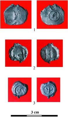 Fig. 6: Dorogichin-type lead seals (Wołoszyn et al. 2012–2013)