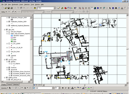 Fig. 8: Screenshot of GIS during digitization of features in the area east of the church, following the work of the 2009 season (Jackson 2009–2010)
