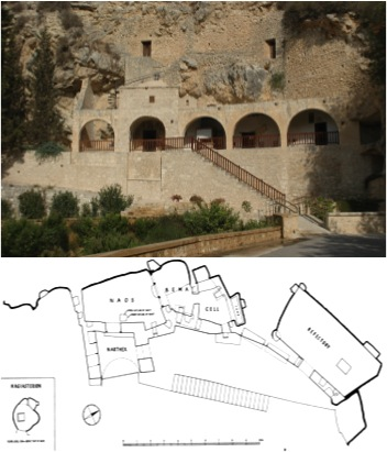 Fig. 1: Exterior of the Enkleistra and plan of the cave complex (Koukoulli and Fischer 2011–2012)