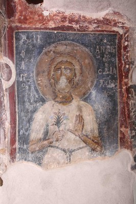 Fig. 3: Fresco painting depicting St. Andrew Salos (Koukoulli and Fischer 2011–2012)