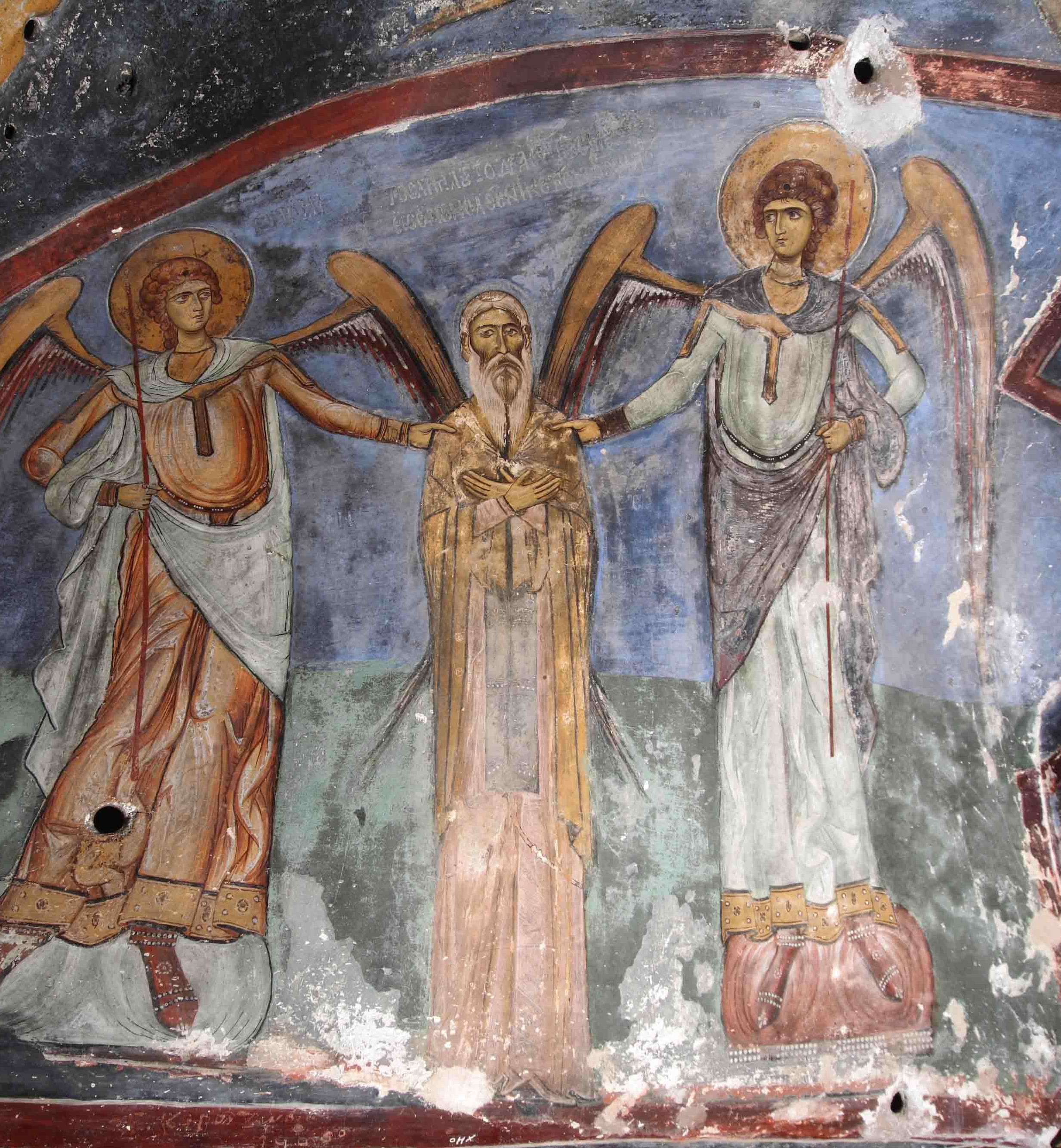 Fig. 2: Depiction of St. Neophytos flaked by the archangels Michael and Gabriel (Koukoulli and Fischer 2011–2012)