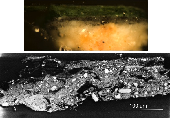 Fig. 12: Cross section samples of the arsenic-rich green paint (Koukoulli and Fischer 2011–2012)