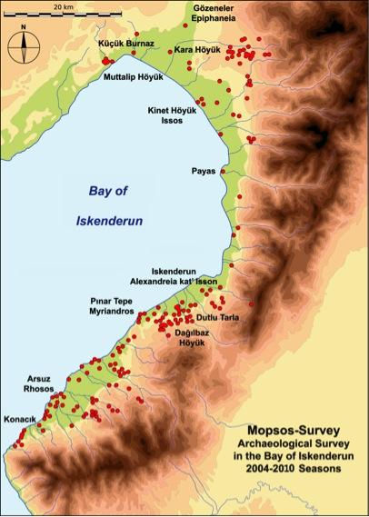 Fig. 2: Bay of İskenderun survey, documented sites (Killebrew 2010–2011)