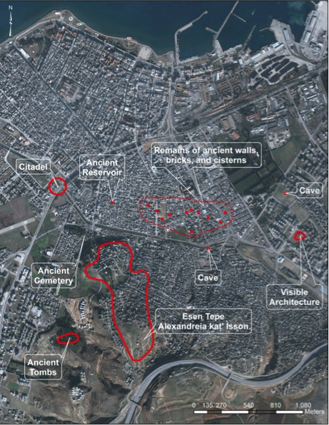 Fig. 8: Satellite image of modern İskenderun and surveyed archaeological remains indicated in red (Killebrew 2010–2011)