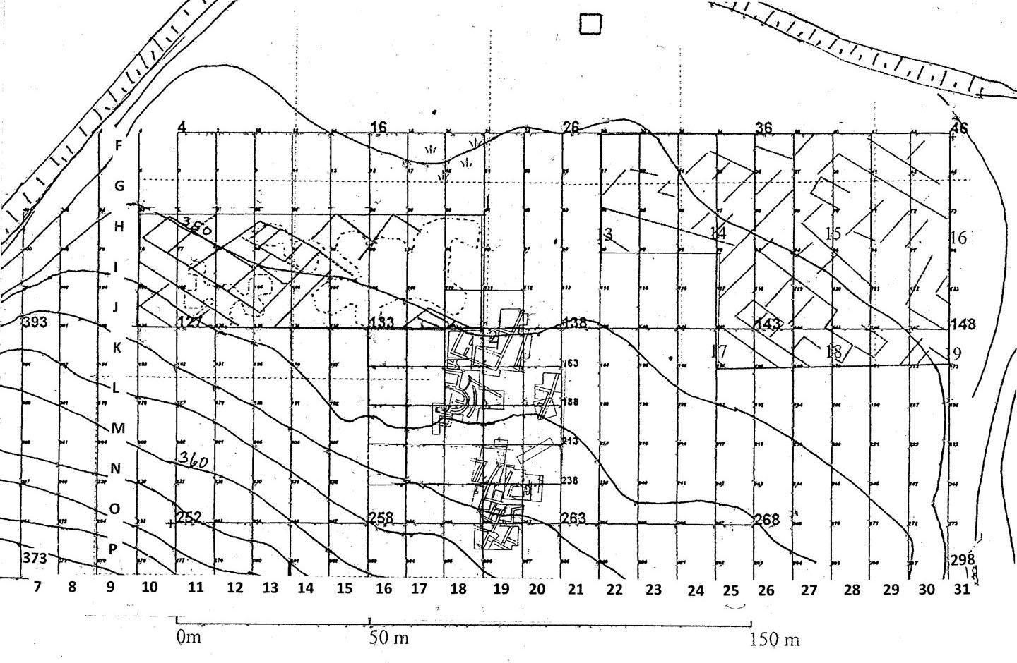 Fig. 2: Plan showing the excavated areas on the terrace and the results of geophysical scanning (Snively 2009–2010)