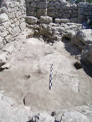 Fig. 3: The 10th/11th-century beaten-earth floor of the sunken-floor building of room 33 (Rabinowitz and Sedikova 2005–2006)