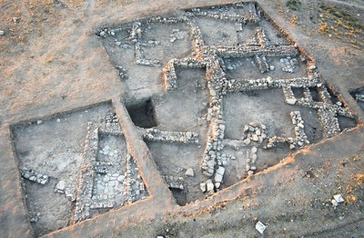 Fig. 1: Aerial view of Byzantine excavations on northern terrace (Steadman 2008–2009)