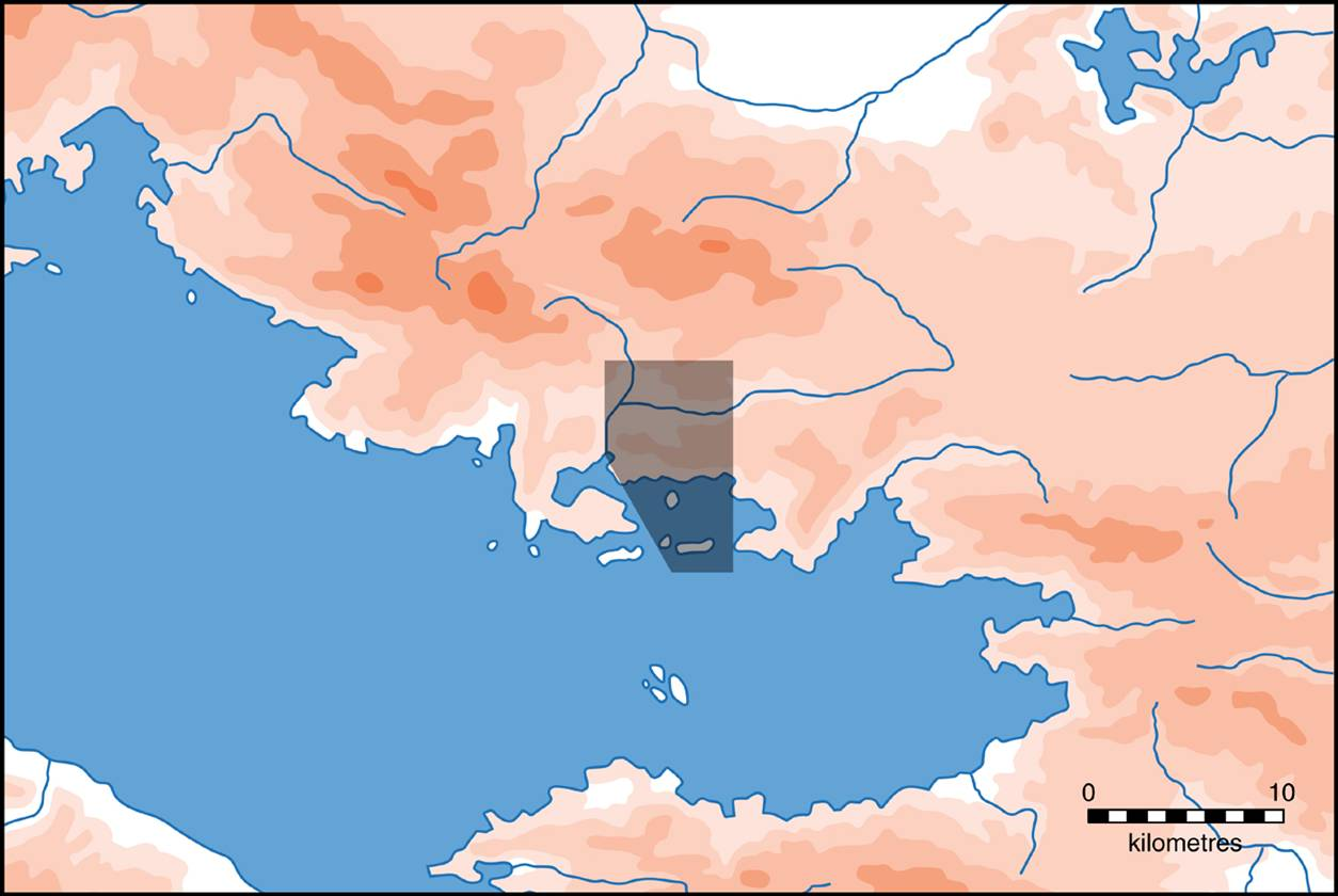 Fig. 1: Combined areas of study of the Survey of Thisve-Kastorion (Dunn 2008–2009)