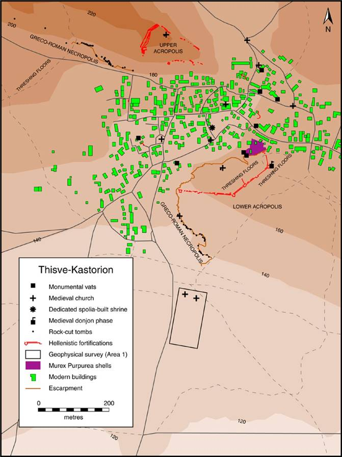 Fig. 3: Ancient Thisve/Byzantine Kastorion: Pre-Classical to Byzantine and Frankish features (Dunn 2008–2009)