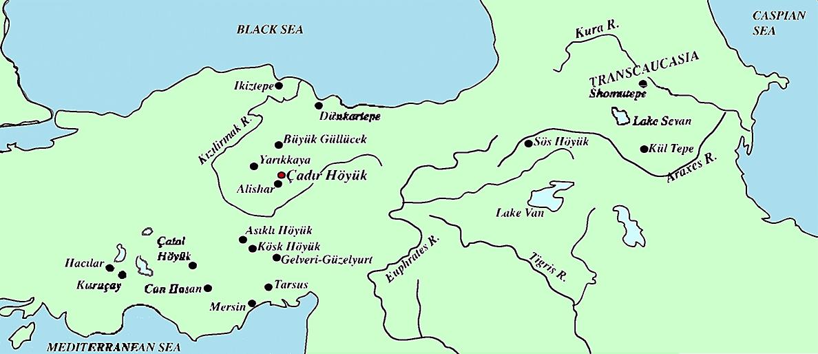 Fig. 1: Map of Turkey with Çadır Höyük in archaeological context (Steadman 2005–2006)
