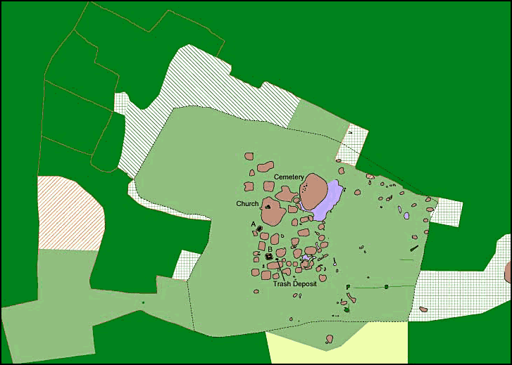 Fig. 1: Map of the archaeological mounds at John the Little (Davis et al. 2006–2007)