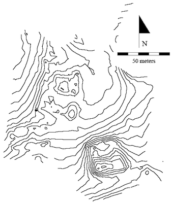 Fig. 2: Topographic map of a small section of the site with 0.20 meter contours (Davis et al. 2006–2007)