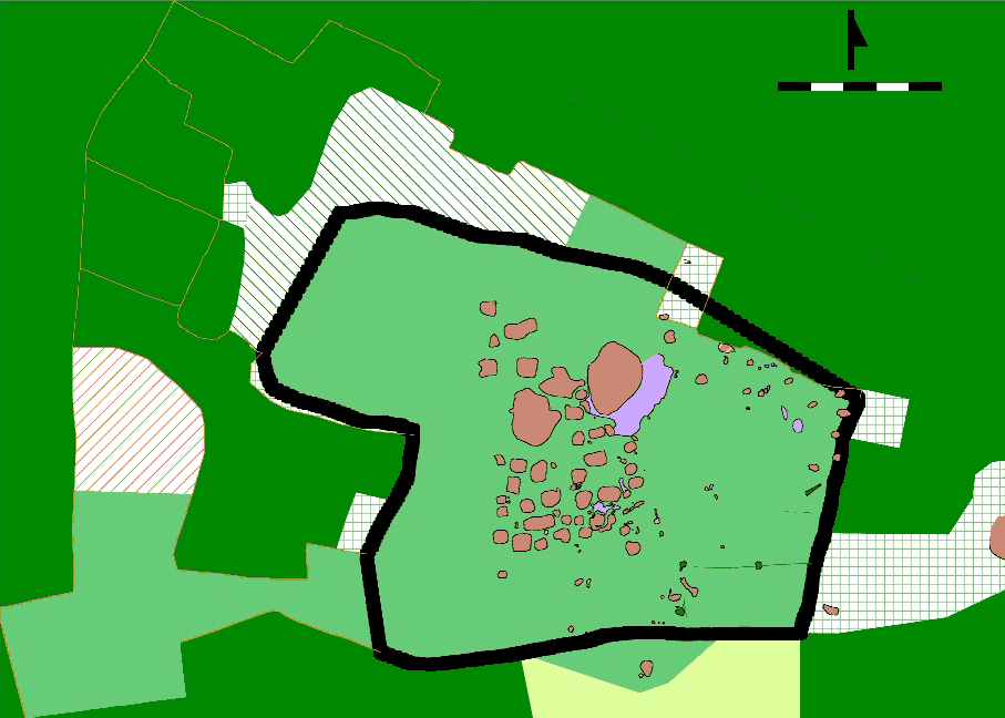 Fig. 1: Map of the archaeological mounds at John the Little (Davis et al. 2007–2008)