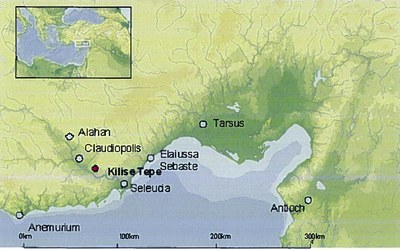 Fig. 1: Map of Cilician region showing Kilise Tepe and other sites in the Goksu Valley (Jackson 2011–2012)
