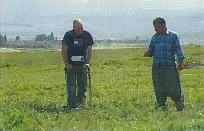 Fig. 4: Alexander Turner and Tuncay Korkmaz conducting Resistivity Survey in March 2011 prior to the summer excavation season (Jackson 2011–2012)