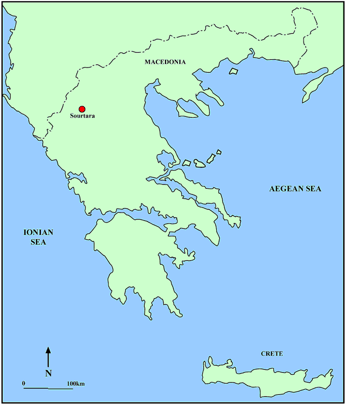 Fig. 1: Map of Sourtara Galaniou Kozanis in northern Greece (Bourbou 2006–2007)
