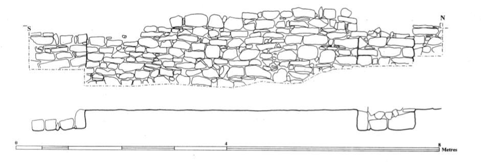 Fig. 20: Outer eastern face of the curtain wall (9005), area E (Poulter 2010–2011)