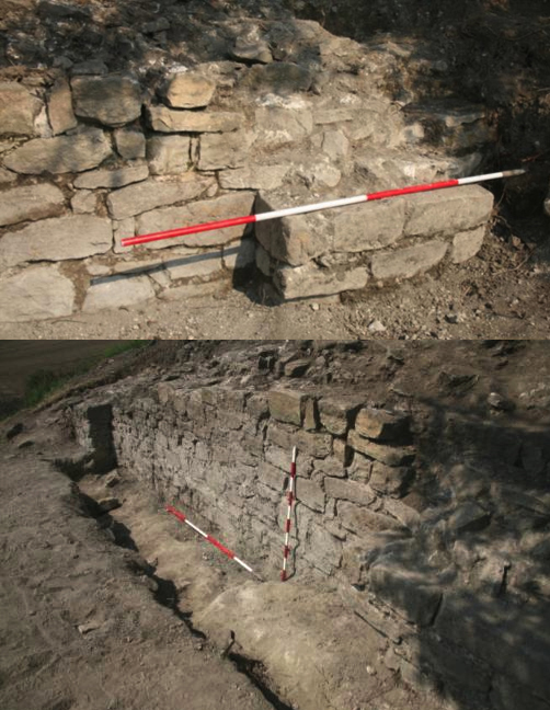 Figs. 22–23: Outer face of curtain wall and northern buttress, area E (top); outer face of curtain wall and southern buttress, area E (below) (Poulter 2010–2011)