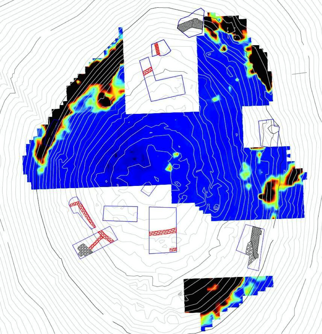 Fig. 5: Site plan with excavation areas overlain by the geophysical survey (Poulter 2010–2011)