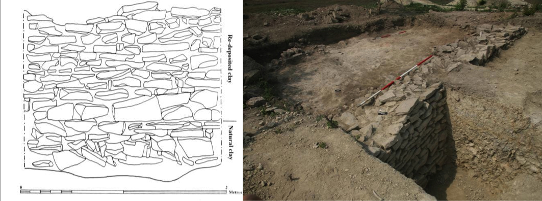 Figs. 9–10: Northern face of the revetting wall (5023), area A (left); the revetting wall (right) (Poulter 2010–2011)