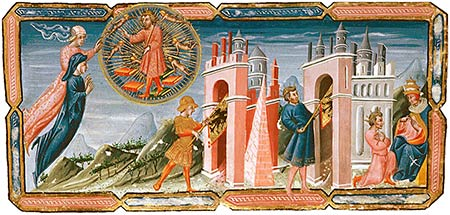 Paradiso 6, Aeneas carries imperial standard through gate of Rome, Constantine carries it through gate of Constantinople, Justinian kneels before Pope Agapitus.