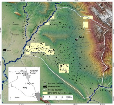 Fig. 1: The Erbil Plain Archaeological Survey research area in the Kurdistan Region of Iraq (Ur 2013–2014)