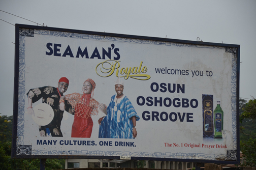 Fig. 13a: The billboard of a multinational gin beverage company at the entrance of Osun Grove (Ogundiran 2011–2012)