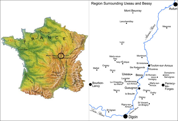 Fig. 1: Research area in Southern Burgundy, France (Madry et al. 2012–2013)