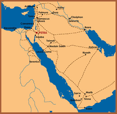 Map showing trade routes in the ancient Near East.
