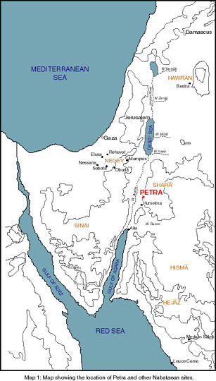 Map showing the location of Petra and other Nabataean sites