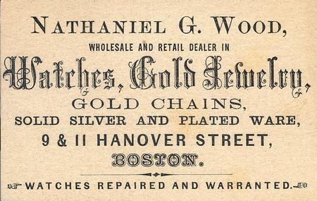N.G. Wood & Sons, Boston Trade Card