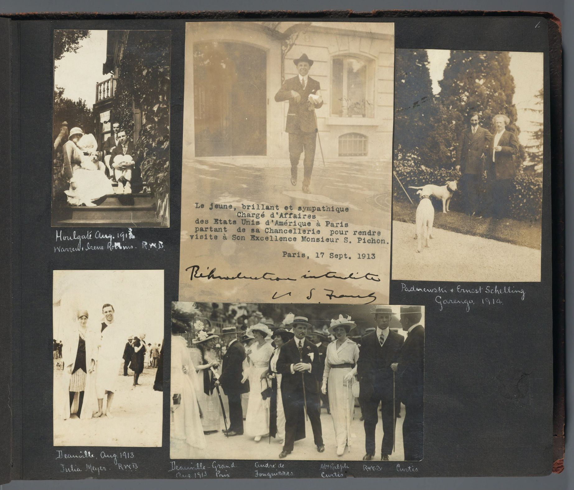 Robert Woods Bliss seen at various events, 1913.